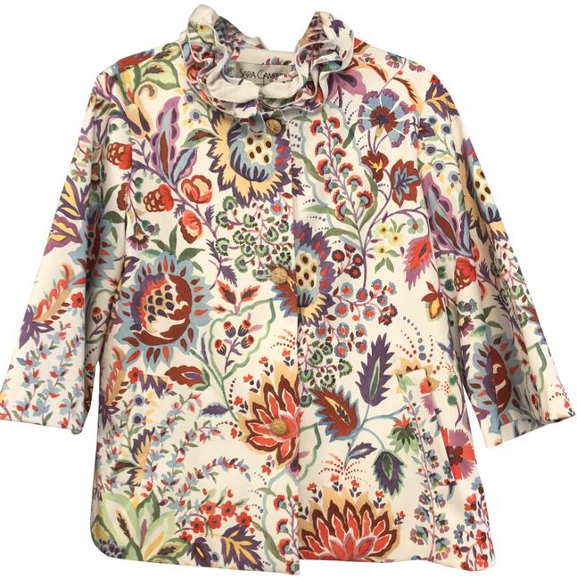 Item - Multi Color Floral Button Front Lightweight Ruffled Collar Jacket Size 12 (L)