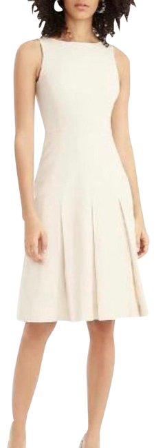 Item - Ivory Sleeveless Pleated A-line Structured Linen Seller Mid-length Work/Office Dress Size 12 (L)