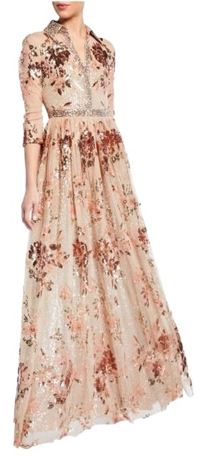 Item - Brown Ombre Couture Sequined Shirt Gown Long Formal Dress Size 4 (S)