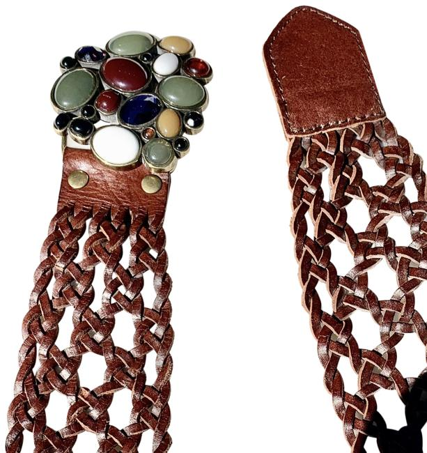 Item - Brown Woven Styled Leather with Stone Cluster On Buckle Belt