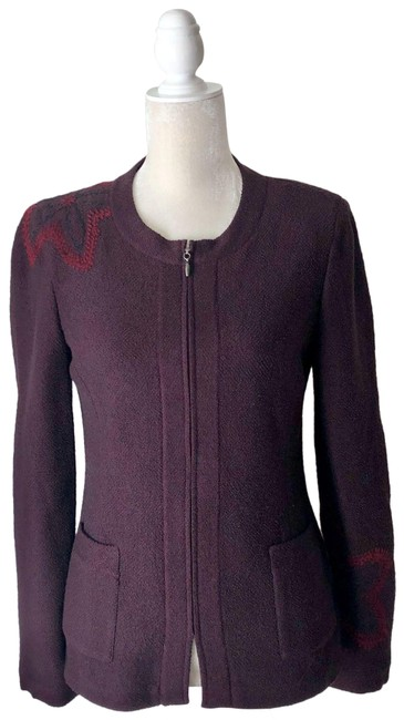 Item - Red Collection Maroon Embroidered Jacket 4 Blazer Size 10 (M)