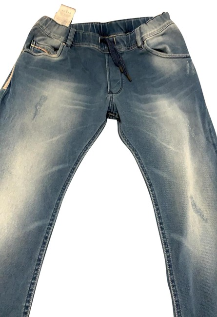 Item - Light Wash Distressed Jogger Pull On For Boys Straight Leg Jeans Size 14 (L, 34)
