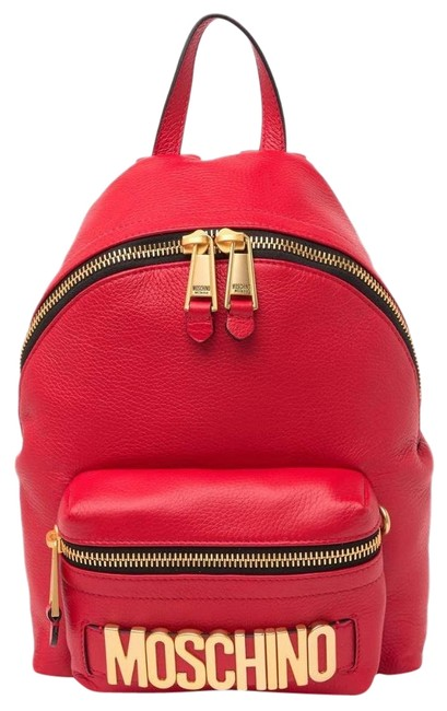 Item - Logo Front Red Leather Backpack