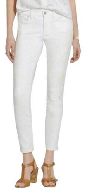 Item - White Cream Light Wash Crop Embroidered Floral Skinny Jeans Size 27 (4, S)