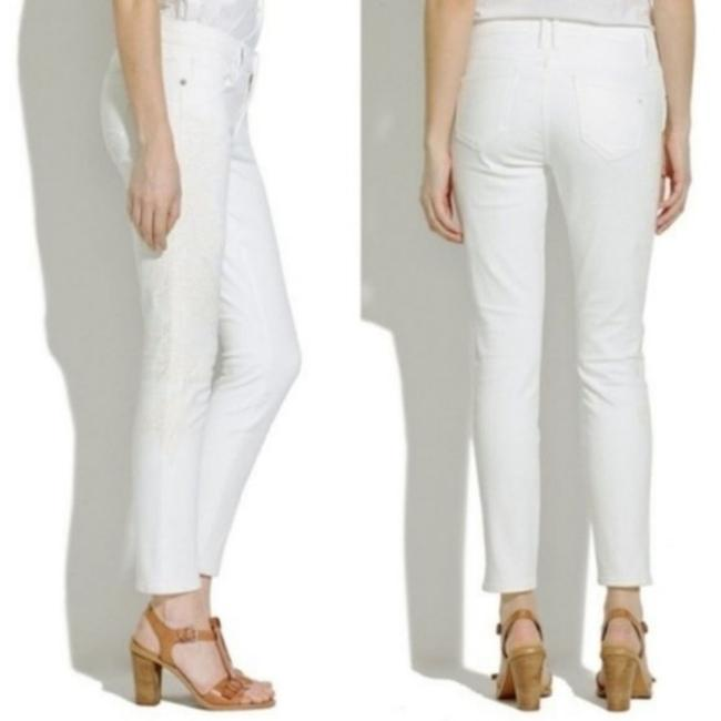 Madewell White Cream Light Wash Crop Embroidered Floral Skinny Jeans Size 27 (4, S) Madewell White Cream Light Wash Crop Embroidered Floral Skinny Jeans Size 27 (4, S) Image 2