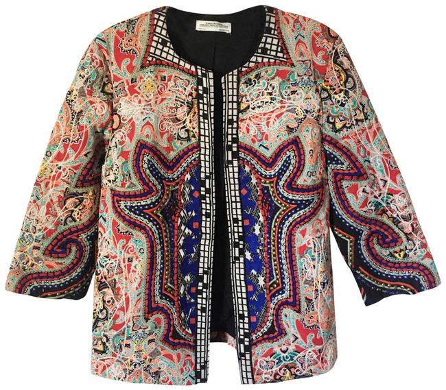 Item - Blue Red Black White Rare Embroidered Tribal Trophy Jacket Blazer Size 4 (S)