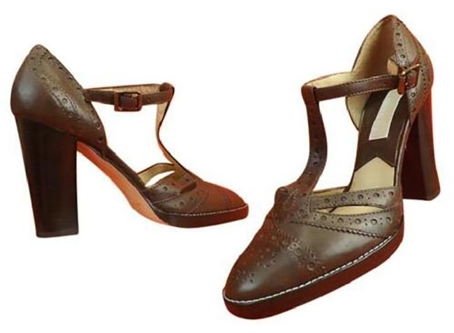 Item - Brown New Tan Distressed Perforated Leather Classic Heels Pumps Size US 8.5 Regular (M, B)