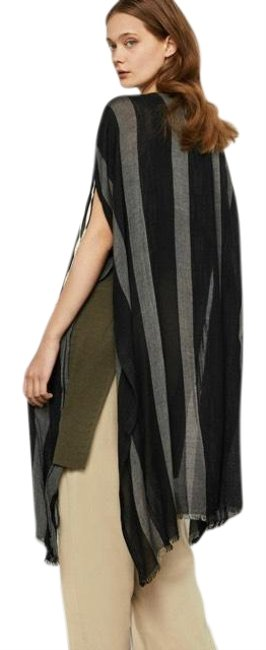 BCBGMAXAZRIA Black Striped Drawstring Shoulder Cotton Poncho/Cape Size OS (one size) BCBGMAXAZRIA Black Striped Drawstring Shoulder Cotton Poncho/Cape Size OS (one size) Image 1