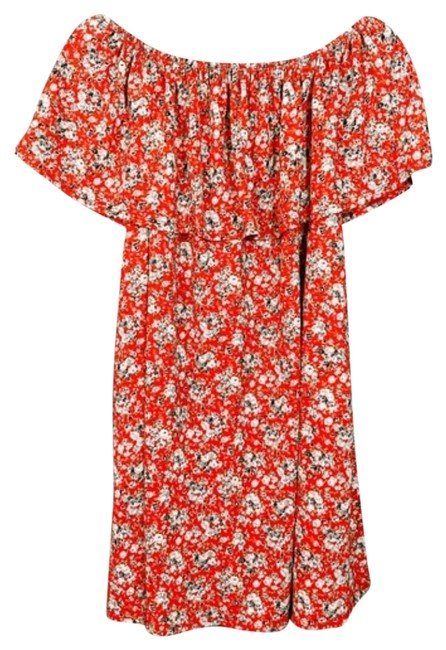 Item - Floral Red Off The Shoulder Mini Short Casual Dress Size 6 (S)