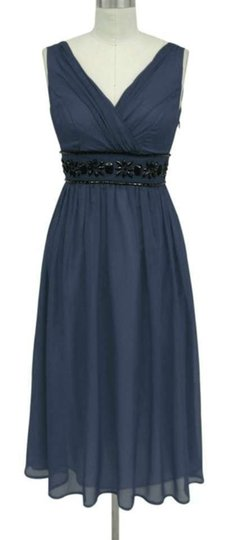 Navy Blue Chiffon Goddess Beaded Waist Destination Bridesmaid/Mob Dress Size 22 (Plus 2x)