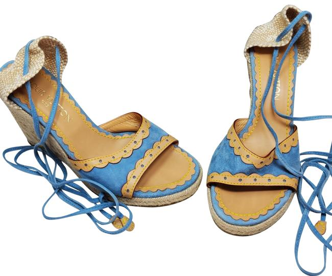 Item - Blue and Tan Espadrille Tie Ankle 39.5 Wedges Size US 9 Regular (M, B)