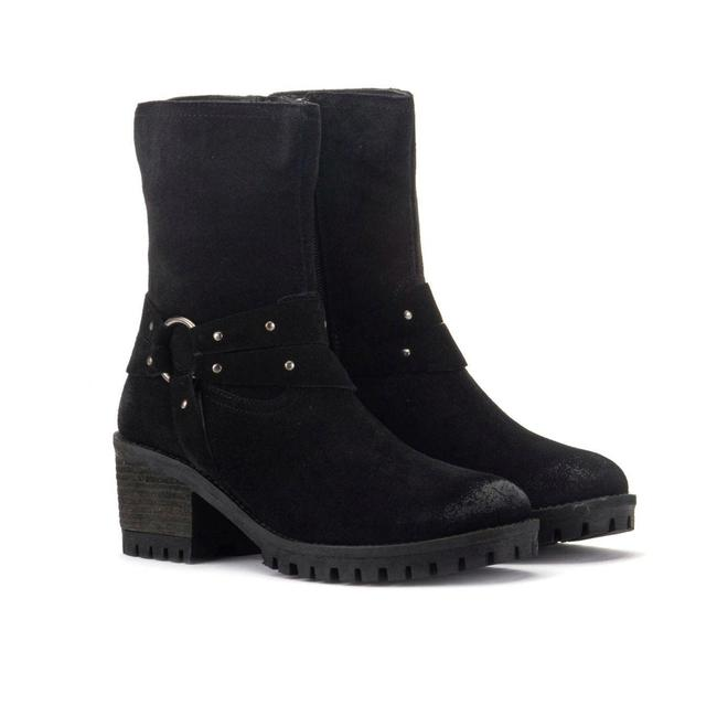Item - Black Suede Leather Sienna Harness Ankle Short Boots/Booties Size US 10 Regular (M, B)