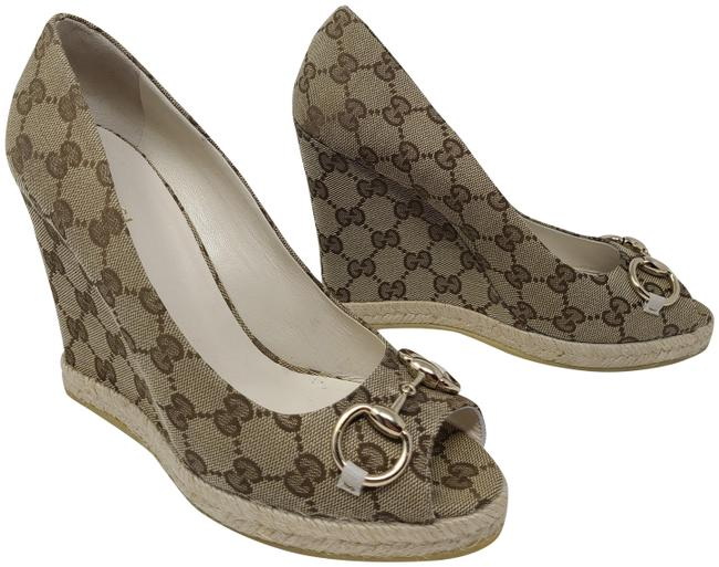 Item - Brown Beige Gg Web Canvas Peep-toe Pumps Wedges Size EU 39.5 (Approx. US 9.5) Wide (C, D)