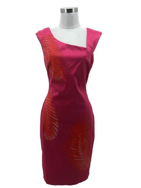 Item - Pink N1230 Designer Orange Leaf Print Sheath Mid-length Formal Dress Size 10 (M)