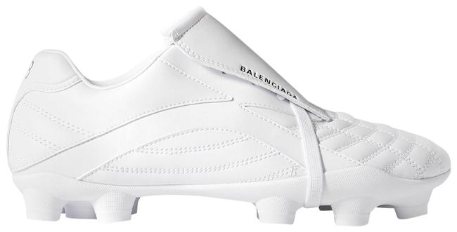Item - White Soccer Quilted Faux Leather Sneakers Size EU 34 (Approx. US 4) Regular (M, B)