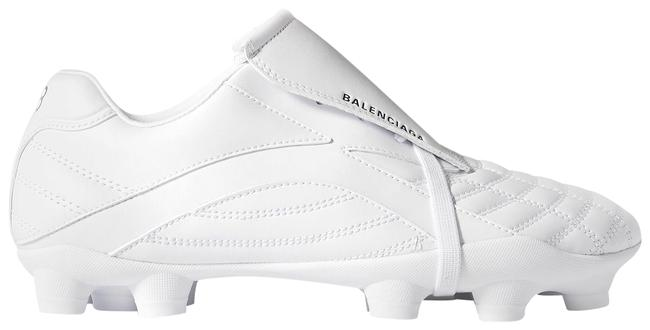 Item - White Soccer Quilted Faux Leather Sneakers Size EU 38 (Approx. US 8) Regular (M, B)