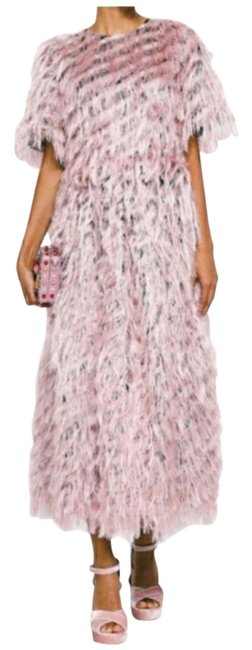 Item - Pink Fringed Fil Coupé Organza Ankle Length Long Short Casual Dress Size 6 (S)