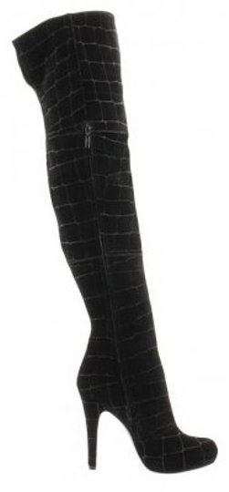 Report Signature Trendy Sexy Croc Imprint Black Suede Leather Boots