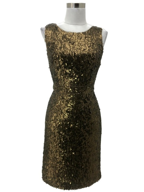 Item - Brown XS N588 Bcbg Max Azria Designer 2 Sequin Sleeveless Mid-length Cocktail Dress Size 0 (XS)