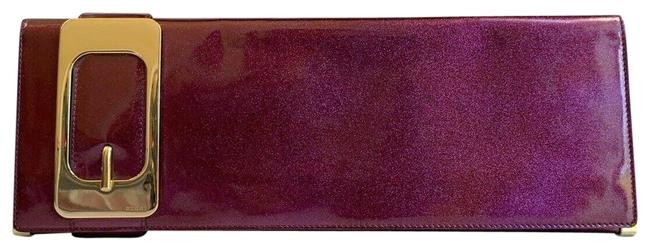 Gucci Shimmer Buckle Handbag/Purse Purple Patent Leather and Suede Clutch Gucci Shimmer Buckle Handbag/Purse Purple Patent Leather and Suede Clutch Image 1