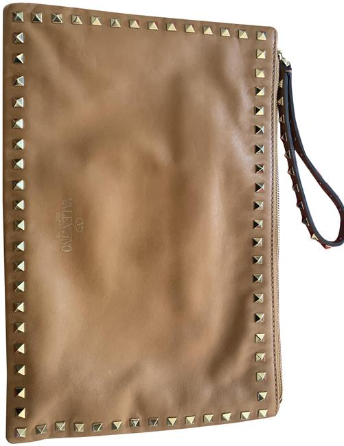 Valentino Rock Stud Caramel Leather Clutch Valentino Rock Stud Caramel Leather Clutch Image 1
