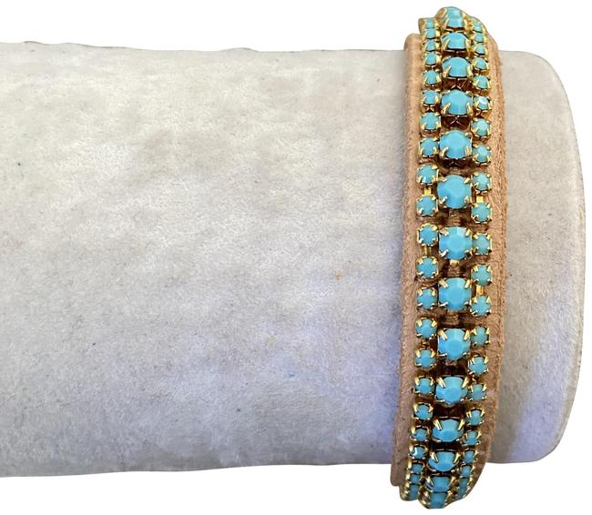 Chan Luu Turquoise New Beads Tan Leather Pull Tie Bracelet Chan Luu Turquoise New Beads Tan Leather Pull Tie Bracelet Image 1