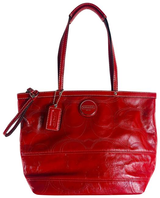 Coach Signature Red Patent Leather Shoulder Bag Coach Signature Red Patent Leather Shoulder Bag Image 1