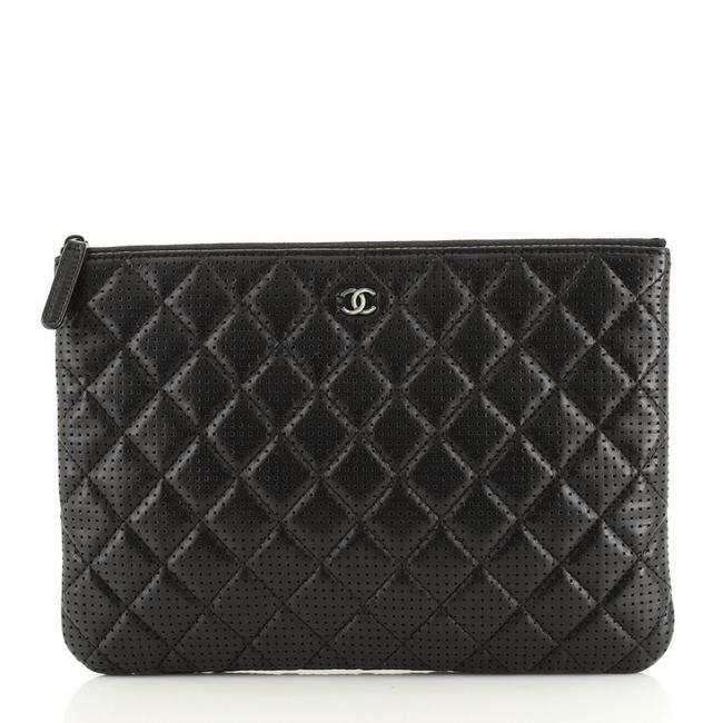 Chanel Case Quilted Perforated Lambskin Medium Black Leather Clutch Chanel Case Quilted Perforated Lambskin Medium Black Leather Clutch Image 1