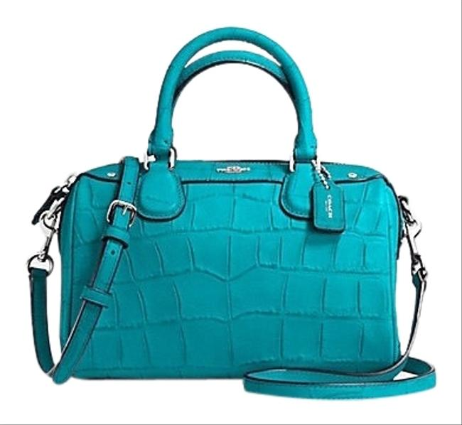 Coach Bennett Mini Embossed Croc Baby Satchel Blue Leather Cross Body Bag Coach Bennett Mini Embossed Croc Baby Satchel Blue Leather Cross Body Bag Image 1