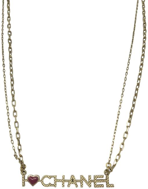 Chanel Gold Gold-tone Quilted I Heart Logo Necklace Chanel Gold Gold-tone Quilted I Heart Logo Necklace Image 1