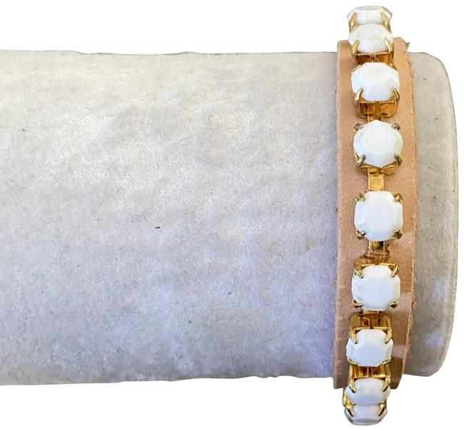 Chan Luu White New Beads Tan Leather Pull Tie Semi Bracelet Chan Luu White New Beads Tan Leather Pull Tie Semi Bracelet Image 1