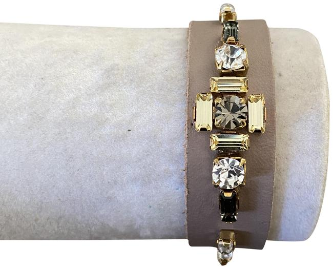 Item - Taupe New Crystal Mix Leather Pull Tie Cuff Bracelet