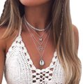 Slyisom New beautiful seashell wave multi layered silver fashion necklace