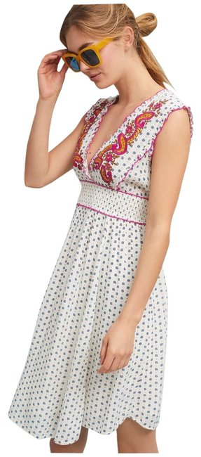 Item - White Red Maggie Embroidered Mid-length Short Casual Dress Size 4 (S)