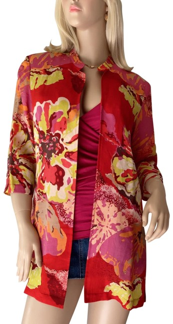 Preload https://img-static.tradesy.com/item/28056330/coldwater-creek-red-multicolor-floral-print-open-front-tunic-cardigan-size-8-m-0-2-650-650.jpg