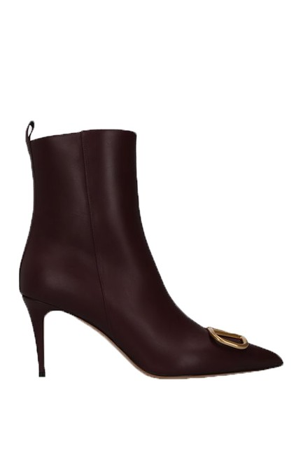 Valentino Burgundy Vlogo Smooth Calfskin Ankle Boots/Booties Size EU 37.5 (Approx. US 7.5) Regular (M, B) Valentino Burgundy Vlogo Smooth Calfskin Ankle Boots/Booties Size EU 37.5 (Approx. US 7.5) Regular (M, B) Image 1