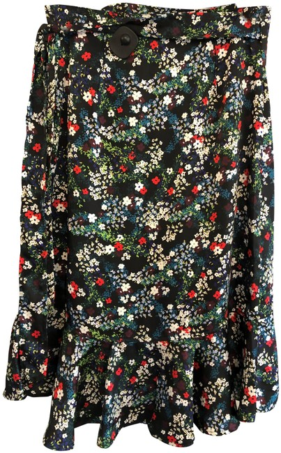 Item - Multi Color Floral Print Wrap Around Ruffle Accent Skirt Size 4 (S, 27)