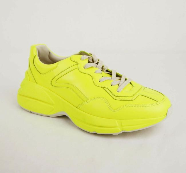 Item - Neon Yellow Men's Leather Platform Sneaker 10g/Us 10.5 549093 7205 Shoes