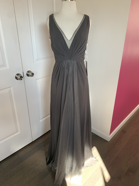 Item - Slate/Charcoal Chiffon and Tulle 450381 Sexy Bridesmaid/Mob Dress Size 4 (S)