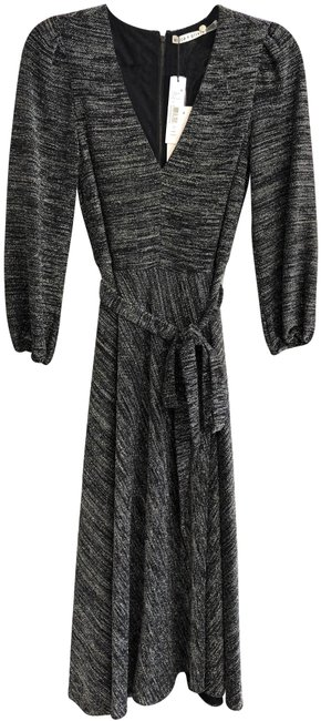 Item - Charcoal/Black Gray Belted Knit Style#cc809m18516 Mid-length Short Casual Dress Size 2 (XS)