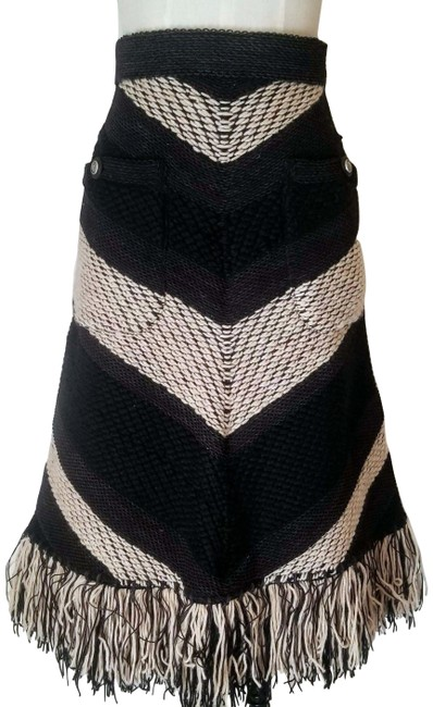 Item - Black / Taupe / Wool Woven Striped Asymmetrical Skirt Size 6 (S, 28)