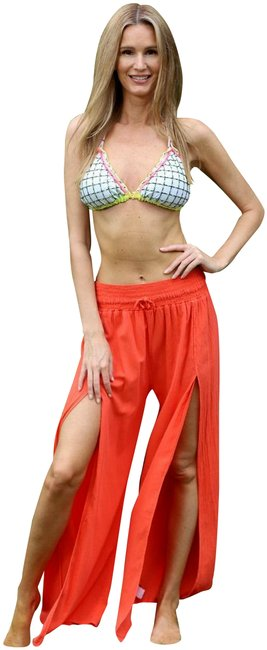 Item - Coral Organic Cotton Open Slit -florina- Resort Palazzo Pants Size OS (one size)