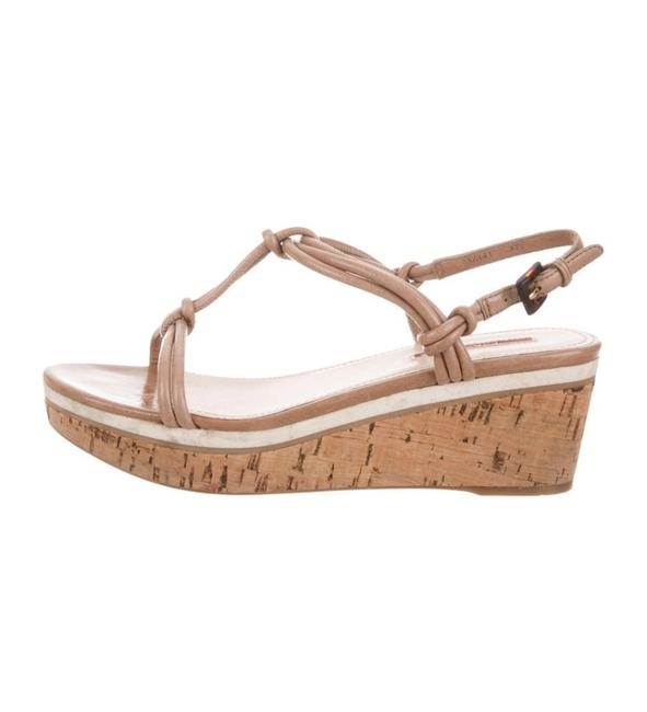 Item - Beige Knot Accented Cork Wedges Sandals Size EU 37 (Approx. US 7) Regular (M, B)