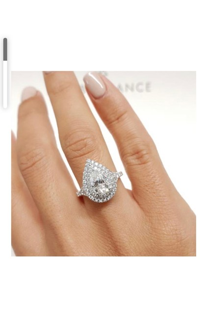 Item - White Gold 2.2 Ct. Pear Cut Double Halo Moissainte 14k Gold Engagement Ring