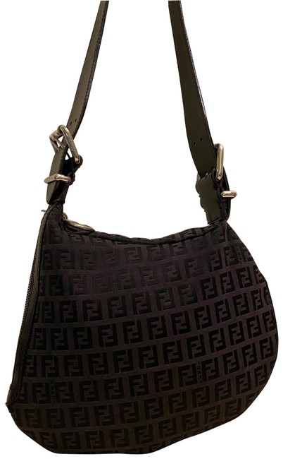 Item - Zucchino Ff Monogram Oyster Black Canvas and Leather Shoulder Bag