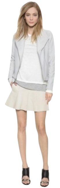 Item - Cream Gray Pleated Leather Goat Silver Sierra Skirt Size 6 (S, 28)