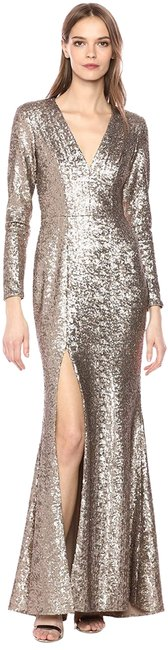 Item - Gold Alessandra Plunging Sleeve Sequin Long Formal Dress Size 4 (S)