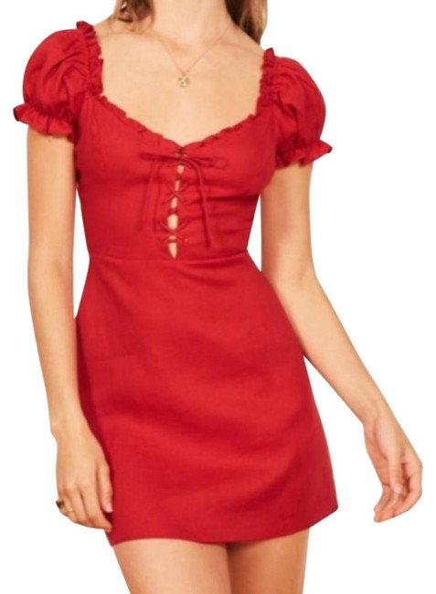 Item - Red Klara Lace Front Babydoll Sleeve Linen Short Casual Dress Size 4 (S)