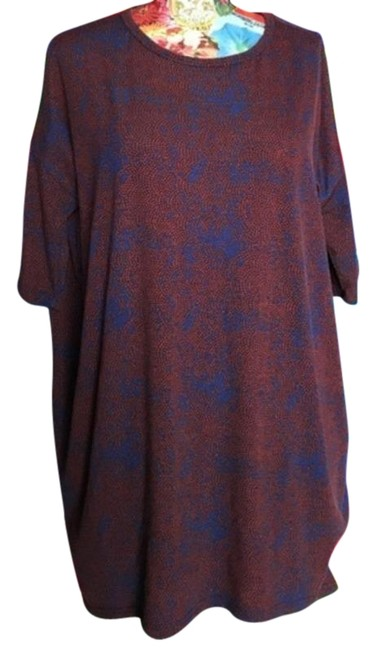 Item - Red Blue Patterned High Low Irma Tee Shirt Size 2 (XS)
