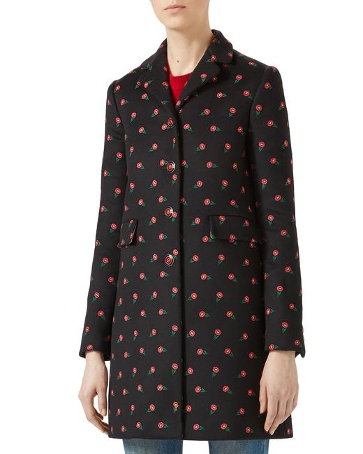 Item - Multicolor Floral Embroidered Wool Coat Size 4 (S)